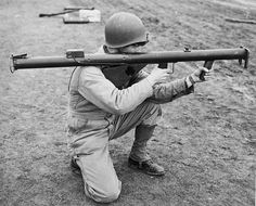 US Soldier holding an M1 Bazooka.