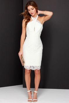 Love this. Keepsake High Roads Ivory Lace Halter Dress at Lulus.com
