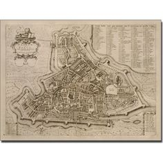 Trademark Art 'Map of Padua, 1704' Canvas Art by Pierre Mortier, Size: 18 x 24, Multicolor