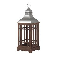 Sterling Industries 138-036 Poynton Large Outdoor Lantern Candle Holder Natural Wood Tone Home Decor Accents Candle Holders