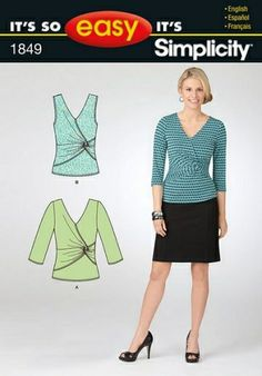 """Simplicity Sewing Pattern 1849 Fabrics: Sized for stretch knits only: Cotton Interlock, Jerseys, Stretch Velvet, Two Way Stretch Lace. See Pick-A-Knit® Rule. Suitable for Overlock/Serger. Notions: Thread, one pkg. of ˙"""" wide straight seam binding."""
