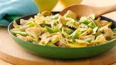Stir up an easy chicken pasta dinner with fresh green beans and summer squash.