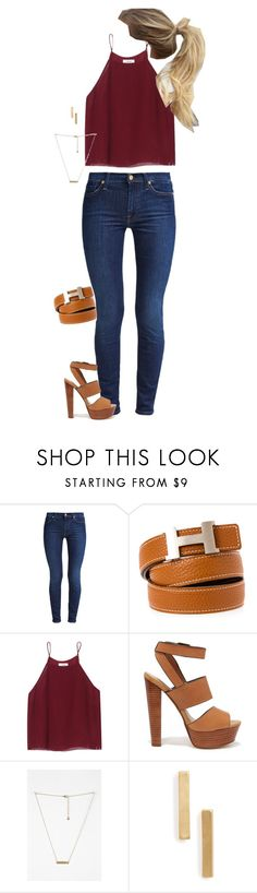 """""""Hermes belt"""" by lo-wren ❤ liked on Polyvore featuring 7 For All Mankind, Hermès, Wilfred, Steve Madden, Topshop, women's clothing, women, female, woman and misses"""