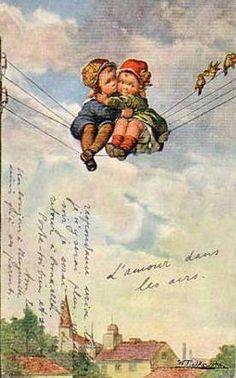 Love In The Air-Wally Fialkowska (XX Century, Austrian)