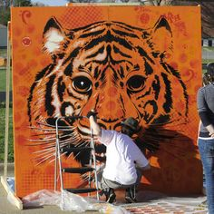 Tiger steps to a mural!