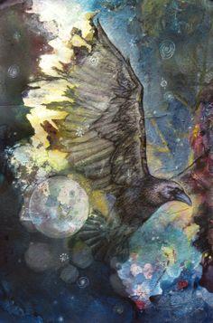 "Crows Ravens:  ""#Crow Creates the Night,"" by Sharmon Davidson."