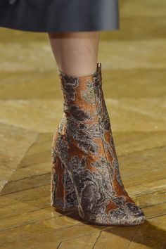 Brocade and velvet ankle boots spotted at @DriesVanNoten - sure...