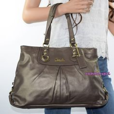 NEW Coach Ashley Gray Leather Carryall Tote Shoulder Bag F15513 Steel Grey RARE #Coach #TotesShoppers