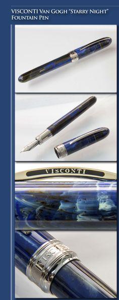 VISCONTI Van Gogh Starry Night Maxi-size Fountain Pen (multi-colour resin, silver-plated trim, 14kt white gold nib) - 2000's / Italy