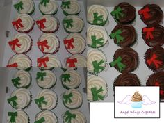 Vanilla and Chocolate Cupcakes with Christmas coloured bows.  www.angelwingscupcakes.co.uk