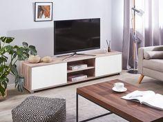 Tv Rack Design, Tv Unit Design, Tv Stand Light Wood, Living Room Tv, Living Spaces, Lincoln, Tv Furniture, Style Minimaliste, Mobile Living