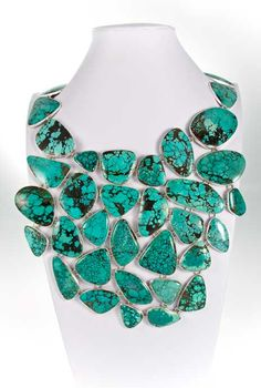 Charles Albert Necklaces - turquoise set in silver, Non traditional use of Turquoise ...love it