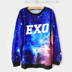 EXO Galaxy Sweater  Grab everyone's attention with an awesome EXO sweater! These blue and purple tone galaxy jumpers are printed with 'EXO' in bold white letters.