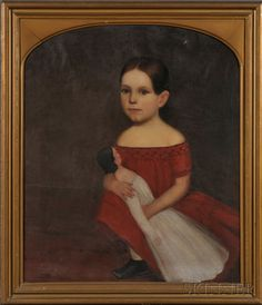 portrait of young girl wearing a red dress and holding her doll, c 1840