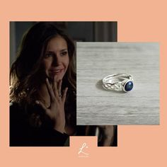 The Vampire Diaries Elena Gilbert Inspired New Daylight Ring, 925 Sterling Silver and Real Lapis Lazuli Vampire Diaries Stefan, Vampire Diaries Bijoux, Vampire Diaries Costume, Genuine Emerald Rings, Emerald Ring Gold, Emerald Jewelry, Katherine Pierce, Elena Gilbert, Daylight Ring