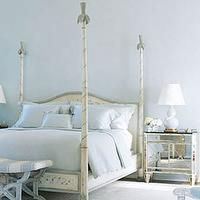 elegant french home decor | Elegant French blue bedroom design with french poster bed with ...