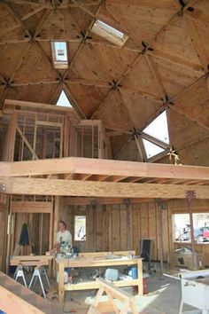 Geodesic dome with two floor - internal structure