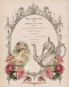 Victorian Five o'clock TEA  English Large by CottageRoseGraphics, $3.75