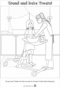 Capable Kids Clubhouse Stand and Bake Coloring Page. kids.easystand.com has coloring pages and activities sheets featuring children with disabilities, wheelchairs and standing frames. E-mail a finished sheet to social@easystand.com for a free gift!