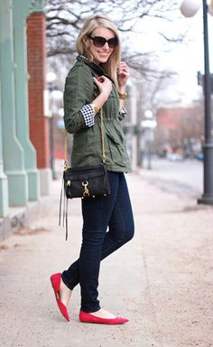 30 Ways to Wear a Utility Jacket // red flats / gingham / utility jacket / dark skinnies // Kate of O My Heart