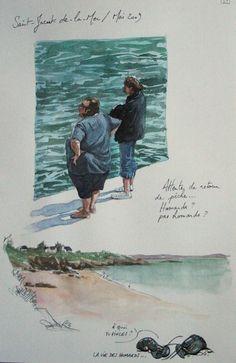 Une Bretagne par les contours/St-Jacut-De-La-Mer Sketch Journal, Drawing Journal, Watercolor Sketchbook, Easy Watercolor, Art Sketchbook, Sketches Of People, Nature Journal, Sketchbook Inspiration, Urban Sketching