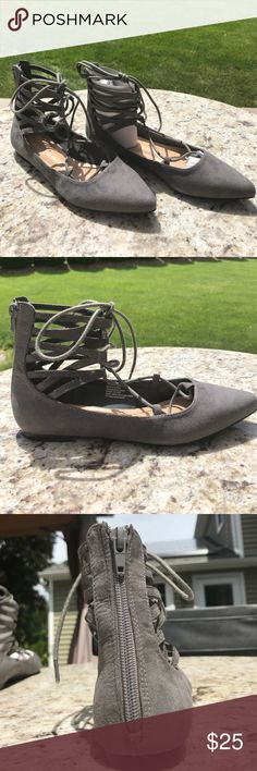 Brand new in box- grey suede lace up flats Super cute, brand new lace up flats! Grey suede, pointed toe and zips up in the back Shoe Dazzle Shoes Flats & Loafers