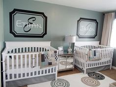 twin boys room (love the initial & name artwork)