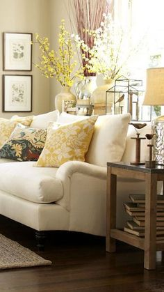 Spring decorating means bright, lively colors and fresh-feeling patterns in this living room!