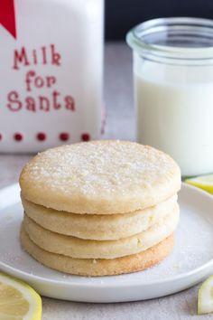 Lemon Sugar Cookies - An Italian in my Kitchen Lemon Shortbread Cookies, Lemon Sugar Cookies, Sugar Cookies Recipe, Yummy Cookies, Baking Cookies, Lemon Recipes, Baking Recipes, Cookie Recipes, Dessert Recipes