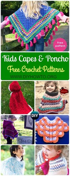 crochet poncho kids Crochet Kids Capes & Poncho Free Patterns Instructions: baby and Kids capes, kids poncho for Spring, Autumn Poncho Season Tutorials Crochet Baby Poncho, Crochet Cape, Crochet Mittens, Irish Crochet, Crochet Style, Crochet Granny, Toddler Poncho, Girls Poncho, Children's Poncho