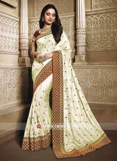 Online Shopping of Tamannaah Bhatia Function Wear Art Silk Fabric Embroidery Work On Saree In Beige Color With Alluring Blouse from SareesBazaar, leading online ethnic clothing store offering latest collection of sarees, salwar suits, lehengas & kurtis Raw Silk Saree, Chiffon Saree, Silk Sarees, Wedding Sarees Online, Bollywood Designer Sarees, Indian Party Wear, Gowns For Girls, Bridal Lehenga Choli, Ethnic Outfits