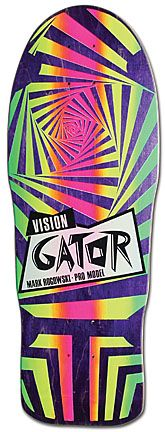 """Model: Mark """"Gator"""" Rogowksi (prototype shape) Artist: Mark """"Gator"""" Rogowski and Greg Evans Company: Vision Release Date: 1986 Notes: This board was obtained directly from a portion of Gator's personal collection. It was put up for sale in approximately 2003 with an assortment of 30 or so other boards."""