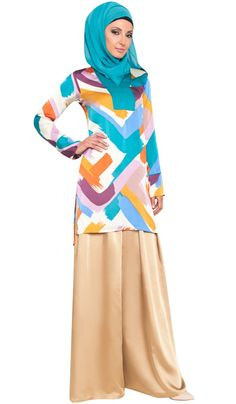 Silky Colorful Moroccan Inspired Long Tunic | Islamic Clothing | Artizara.com