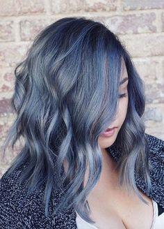 Blue Denim Hair Colors: Acid-Washed Wave Ombre #denimhair #bluehair