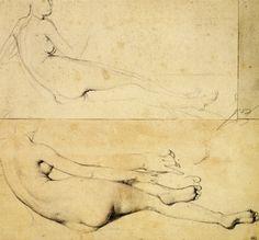 drawingdetail:    Jean-Auguste-Dominique Ingres, Two Studies of a Nude Woman Reclining, Facing Right, ca. 1813. Graphite, 25.4 x 26.7cm. Musée du Louvre, Paris.