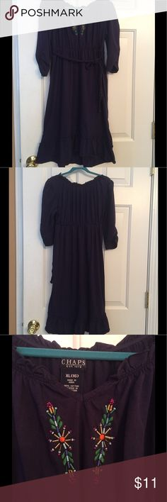 Chaps Girl's Dress Casual and comfortable girl's dress.  Accented with beautiful beadwork on the neckline and a braided sash.  Dress typically comes to the knee and has a ruffle along the hem line. Great condition! Chaps Dresses Casual