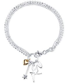 Disney Two-Tone Tinker Bell Charm Bracelet in Sterling Silver and 14k Gold-Plated Sterling Silver