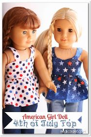 Free Doll Clothes Pattern 4th of July Top with tips and pics.