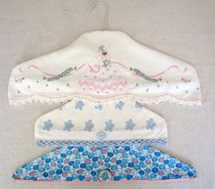 Repurpose & upcycle vintage pillowcases into hanger covers.  Click on photo for instructions