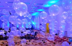 Floating balloons with lighting http://www.idealpartydecorators.com