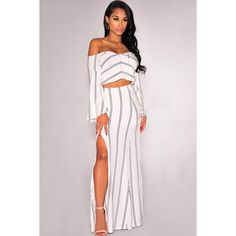 """""""We are lusting over this white maxi dress this season. With fanciful stripes print covering, off shoulder, cut out detail and chic thigh high side split this …"""
