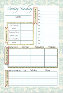 Mormon Mom Planners - Monthly Planner/Weekly Planner: January 2013 I love the Visiting Teaching tracker. Lots of great printables!