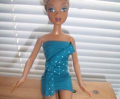 Tutorial:  Barbie/ My Scene Dress w/ Obi [Blue]