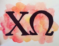 Chi Omega Letters Watercolor Painting by PaintingsbyPearl on Etsy