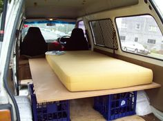 The biggest problem with converting your van into a sleeping machine is that you forfeit the ability to carry transmissions, beds, shopping trolleys, bits of lumber, and/or cattle, sometimes all at once. This is an easy removable sleeping platform. Simple!