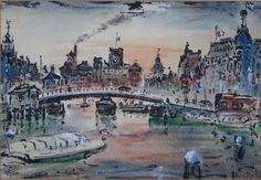 Gezicht op Centraal Station (1950) Amsterdam Gerard Hordijk (1899-1958)