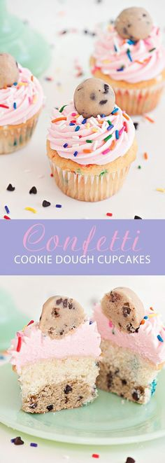 The most epic Cookie Dough Cupcakes ever! White confetti cake stuffed with chocolate chip confetti cookie dough topped with sprinkles, delicious buttercream and some more cookie dough! | Sprinkles for Breakfast