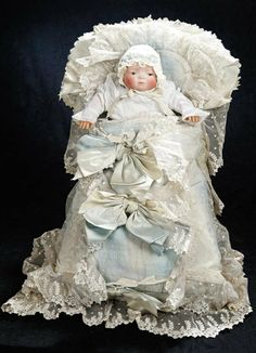 German Bisque Bye-Lo Baby in Very Elaborate Gown and Bunting 600/800