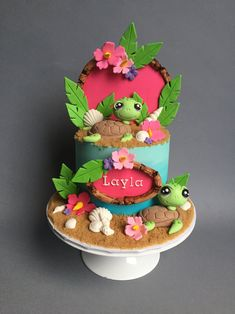 One of our specialties is hand sculpted, fondant characters so we love designing cool cakes for the kiddos! Turtle Birthday Parties, Luau Birthday, Birthday Cake Girls, Happy Birthday Cakes, Luau Cakes, Ocean Cakes, Beach Cakes, Cake Designs For Kids, Best Cake Ever