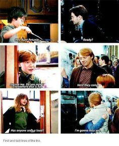 First and last movie lines of the trio. Aww I need to do a harry potter marathon! Harry Potter Welt, Harry Potter Love, Harry Potter Universal, Harry Potter Fandom, Harry Potter Memes, James Potter, Slytherin, Hogwarts, Saga